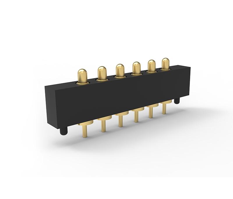 插板式精准定位单排6PIN弹簧针连接器