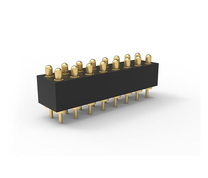 插板式2.5Pitch双排16PIN弹簧针连接器 双排Pogo pin 连接器
