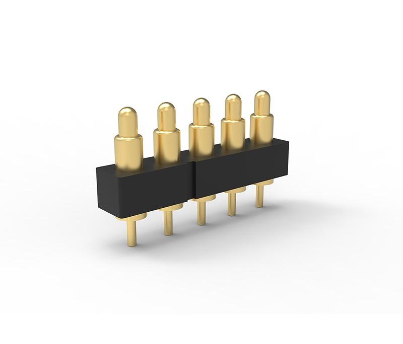 插板式2.5Pitch单排5PIN弹簧针连接器 双排Pogo pin连接器