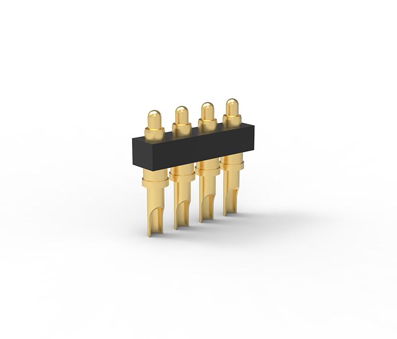 焊线式单排4Pin弹簧针连接器